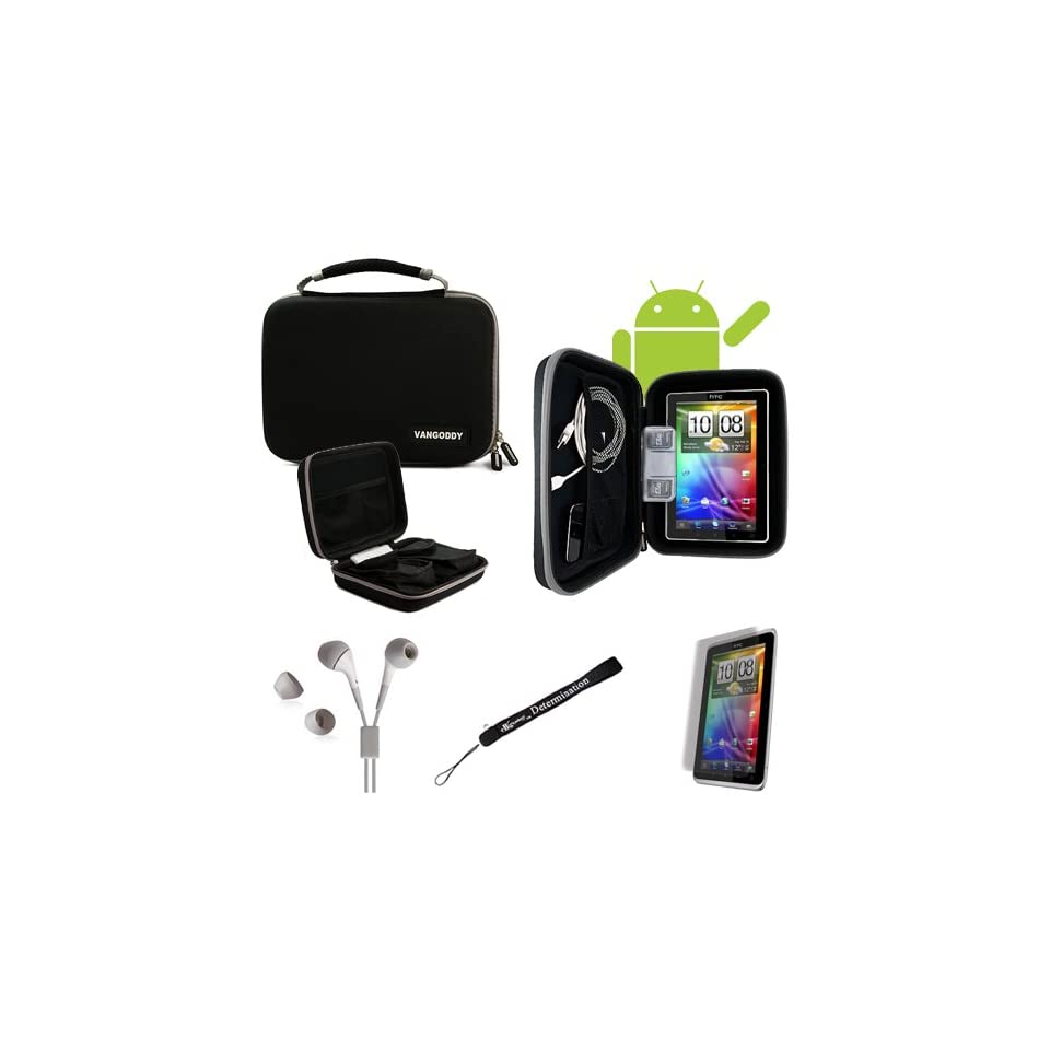 Gray Trim, Black //STAY ORGANIZED// Travel Easy with Maximum Protection Hard Nylon Cube Carrying Case For WiFi HotSpot GPS 5MP 16GB Android OS AD2P 7 Inch Tablet Device + Includes a eBigValue (TM) Determination Hand Strap + Includes a Crystal Clear High Qu