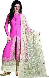 Kaarvaan Women's Silk Unstitched Dress Material(VFP 9009A_Pink_FreeSize)