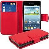 kwmobile Elegante y práctica funda WALLET CASE de cuero sintético con compartimento para tarjetas de crédito y de visita para Samsung Galaxy S2 i9100 / S2 PLUS i9105 en Rojo