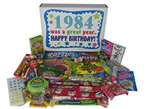80s Retro Nostalgic Candy Decade 30th Birthday Gift Box: Born 1984