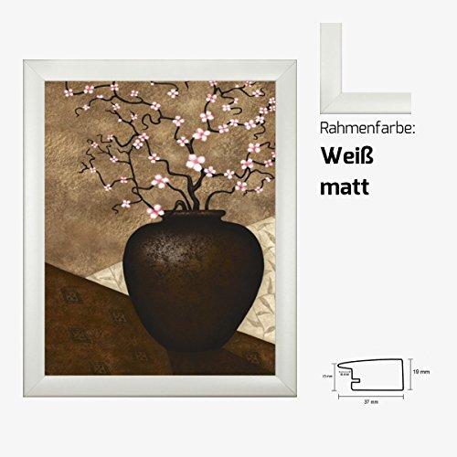 Kunstdruck PARRY - Cherry Blossom in Vase Rosa Kirschblüten in Vase 40 x 50 cm mit MDF-Bilderrahmen & Acrylglas reflexfrei, viele Farben zur Auswahl, hier Weiß matt