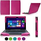 ASUS Transformer Book T100 Case Cover, Fyy Fully Armed Leather Case for ASUS Transformer Book T100 Magenta