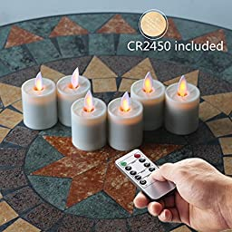 NONNO&ZGF Mystique Moving Wick 1.5 X 2.6 Inch Votives Flameless Tea Lights w/Remote and Dancing Flame, Ivory, Set of 6