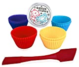 Snack Cozies Silicone Baking Cups and Spatula Bakeware Supplies Combo (12 count) 4 colors