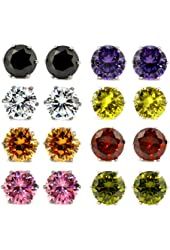 8 Pairs Assorted Color Wholesale Lot Stainless Steel Cubic Zirconia CZ Stud Earrings, Hypoallergenic