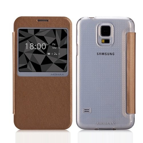 Moon Monkey Lightweight Ultra-Thin Slim Protective Case With Intelligent Window For Samsung Galaxy S5 (Champagne)