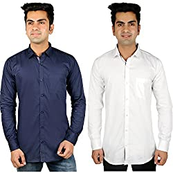 Nimegh Blue, White Color Cotton Casual Slim fit Shirt For men's (Pack of 2)