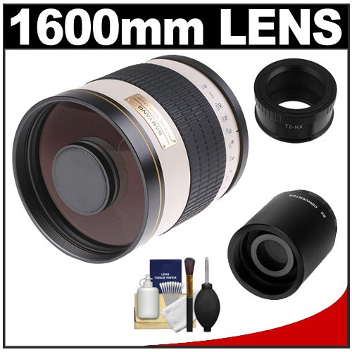 Samyang 800Mm F/8.0 Mirror Lens (White) (T Mount) With 2X Teleconverter (=1600Mm) + Cleaning Kit For Samsung Nx20, Nx200, Nx210 & Nx1000 Digital Cameras