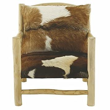 GreenAzur - Fauteuil peau de chèvre et bois avec accoudoirs NOLDOR - FAUT-NOL