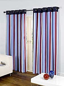 """Striped Cotton Mix Ring Top Lined Red Blue 90"""" X 54"""" Thick Curtains *wotsdap* from Curtains"""