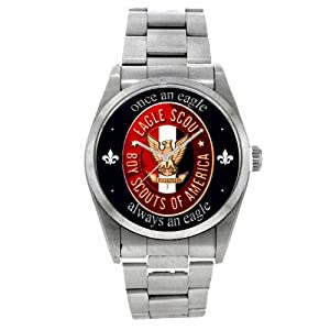 Large Size 37 mm Stainless Steel Eagle Scout Wrist Watch for 16-year-old Boys