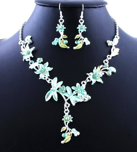 Flower Wedding Party Alloy Acrylic Necklace Earring sets GREEN