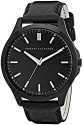 Armani Exchange Men's AX2148 Black Stainless Steel Watch with Leather Band