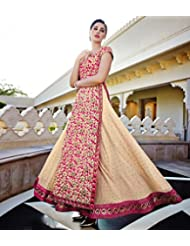 Jinaam Floral Cream & Pink Embroidered Georgette Long Top Lehenga Style Anarkali Suit