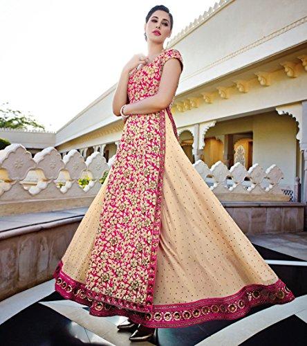 Jinaam Floral Cream & Pink Embroidered Georgette Long Top Lehenga Style Anarkali Suit