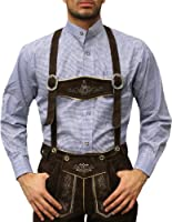German Wear Traditional Bavarian Shirt For Leather Pants/Oktoberfest Cotton Blended Blue/Checkered