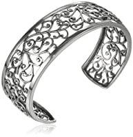 "Sterling Silver Filigree Cuff Bracelet, 6.5"" by Amazon Curated Collection"