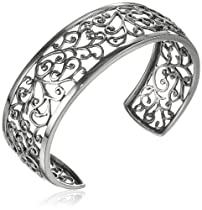 Hot Sale Sterling Silver Filigree Cuff Bracelet, 6.5""