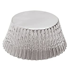 Fox Run Silver Foil Standard Bake Cups, 32 Cups - Ideal for baking party cupcakes or muffins or for holding candies and other treats