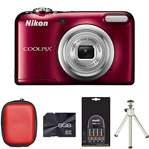 nikon-coolpix-a10-digital-camera-red-case-8gb-card-2xaa-battery-charger-tripod-161mp-5x-optical-zoom