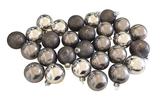 Christbaumkugeln-Weihnachtskugel-Mix-Echt-Glas-Silber-Grau-28-Stck