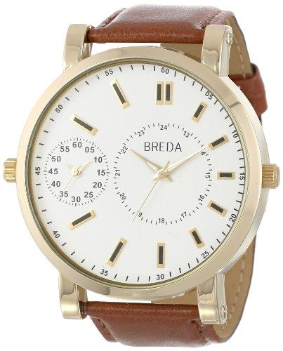 Breda Men'S 1637-Gold/Brown Aaron Oversized Dual Time Zone Watch