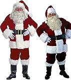 Eiza 豪華 サンタクロース コスプレ 衣装 9点 クリスマス パーティー 帽子 ウィッグ ヒゲ 眼鏡 手袋 足カバー ベルト トップス ズボン サンタ ソックス (Mサイズ)