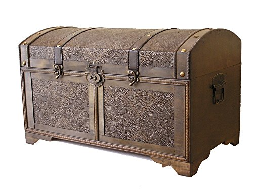 Nostalgic Medium Wood Storage Trunk Wooden Treasure Chest 1