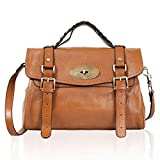 Leather Satchel Shoulder Daily Handbag Medium (brown)