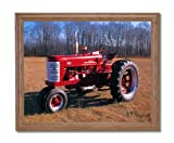 Vintage 1955 Farmall 400 Farm Tractor Home Decor Wall Picture Oak Framed Art Print