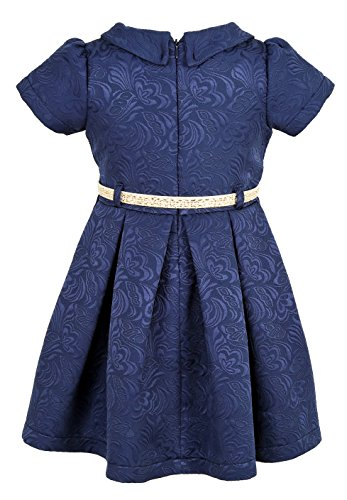 Lilax Little Girls' Flocked Occasion Dress with Shimmer Belt 3T Navy