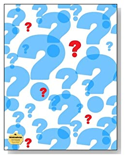 Question Marks Notebook - Large blue question marks with a few bright red ones make a stunning cover for this blank and wide ruled notebook with blank pages on the left and lined pages on the right.