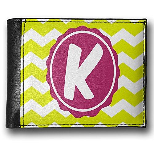 Wallet Monogram K Lime Green Chevron, Rfid Men'S Bifold Id Case - Neonblond