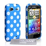 HTC Sensation / Sensation XE Stylish Polka Dot Silicone Gel Patterned Case Cover And With Screen Protector Film Blue White Spotsby Yousave Accessories