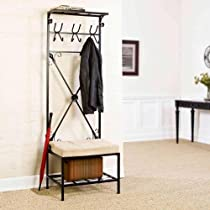 Entryway Black Metal Storage Bench with Coat Rack
