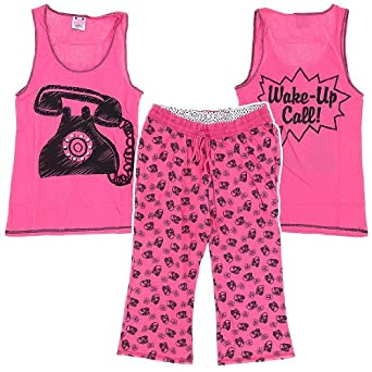 Katnap Pink Wake Up Cotton Capri Pajama Set for Women M