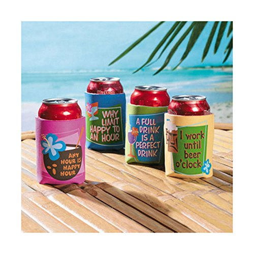 [4 Beer Soda Can Holders Coozie ~Luau Beach Tropical Pool Party KOOZIE COOLIE TRENDING] (Soda Mini Costumes)