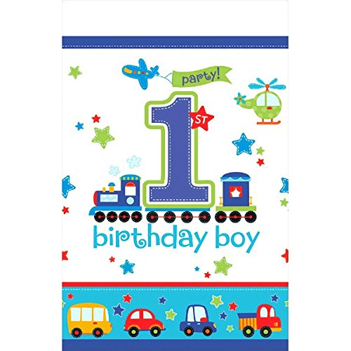"Amscan All Aboard Boy 1st Birthday Blue Plastic Table Cover Party Supplies, 54"" x 102"", White/Blue"