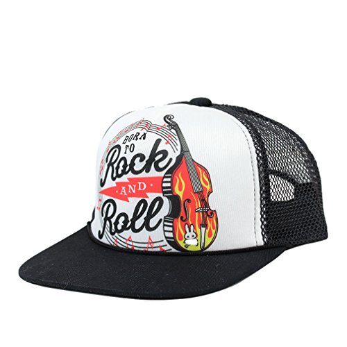 Six-Bunnies-Kinder-Rockabilly-Trucker-Cap-Born-To-Rock-Roll-Snapback-Cap