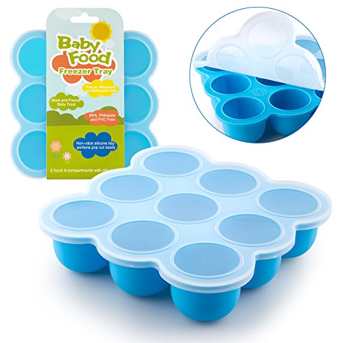 Samuelworld Baby Food Storage Container, Baby Food Freezer Tray with Lid, 9x2.5oz BPA Free, FDA Approved, Silicone, Perfect For Homemade Baby Food, Vegetable & Fruit Purees and Breast Milk (blue) (Silicone Yogurt Baby compare prices)