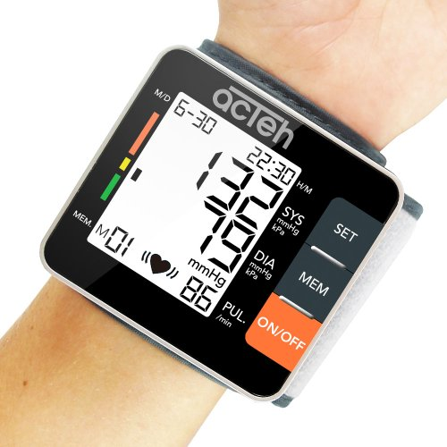 Wrist Blood Pressure Monitor With Heart Health And Hypertension Indicator, Pulse Rate And Large Lcd Display With Led Backlight