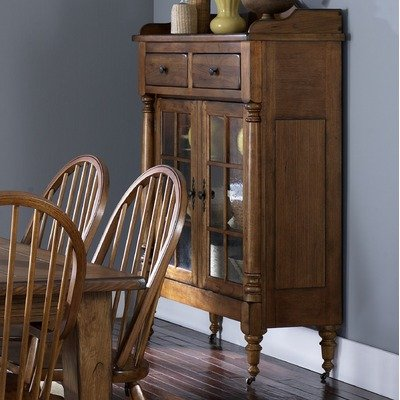 Treasures Formal Dining Display Cabinet in Rustic Oak
