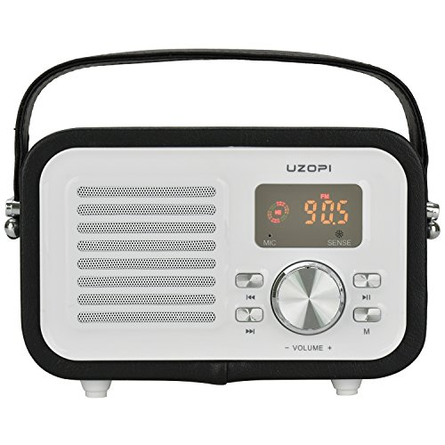 Portable FM Radio Bluetooth Speaker, UZOPI 5W Surround Sound Outdoor Wireless Boombox Speakers with Enhanced Bass, Built-In Mic, Support Micro TF SD Card, USB Input, AUX Line-In, etc (Vintage Radio Transistor compare prices)