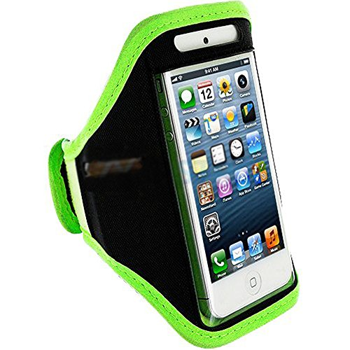 Mylife (Tm) Lime Green + Black Velcro Strap (Light Weight Flexible Neoprene + Secure Running Armband) For Apple Iphone 5C, 5S And 5 (5G) 5Th Generation Itouch Phone (Universal One Size Fits All + Velcro Secured + Adjustable Length + Pu Leather Trim + Seal