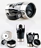 HomeyHouse 350ml Automative Electric Self Stirring Mug Coffee Cup Stainless Steel Water Bottle Office Home Outdoor Gift Novelty (Black)