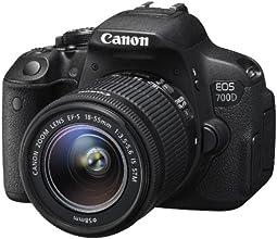 "Canon EOS 700D EF-S 18-55 IS STM - Cámara réflex digital de 18.0 Mp (pantalla táctil de 3.0"", objetivo(s) 18-55mm f/3,5, estabilizador de imagen óptico), negro"