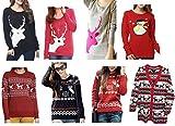 Hanson Womens Patterns Of Reindeer Snowman Christmas Cardigan