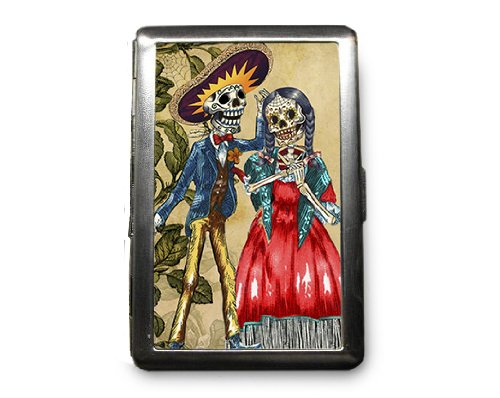 Day of the Dead Skeletons Decorated ID Cigarette Case Wallet - CD386