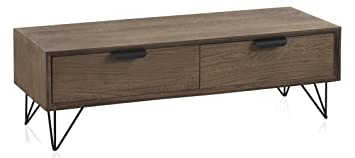 GEESE 7186 - Mueble auxiliar de madera con 2 cajones y patas metálicas, 40 x 110 x 35 cm, color marrón