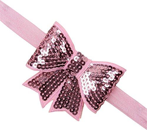 PinkXenia Light Pink sparkly/glitter sequin bowknot elastic Newborn Soft Headband